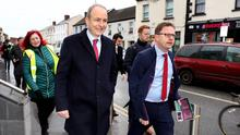 Fine Fail Leader Micheal Martin and James Lawless TD canvassing on Main Street Naas. Pic Steve Humphreys 29th January 2020