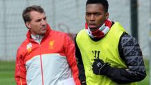 Brendan Rodgers, manager of Liverpool, with Daniel Sturridge