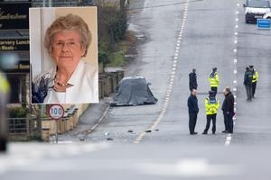 The scene of the fatal accident at Ardee this morning and inset Josie Duff (79)