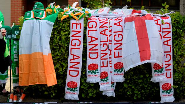 7 June 2015; Flags and scarves for sale outside the stadium ahead of the game. Three International Friendly, Republic of Ireland v England. Aviva Stadium, Lansdowne Road, Dublin. Picture credit: Cody Glenn / SPORTSFILE