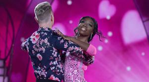 Love Islander Yewande Biala and Pro Dancer Stephen Vincent pictured during the Third live show of Dancing with the stars. Photo Credit: Kyran O'Brien Photography/kobpix