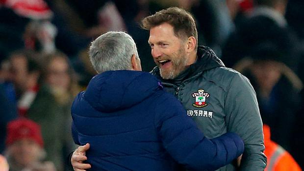 Tottenham Hotspur manager Jose Mourinho (left) and Southampton manager Ralph Hasenhuttl embrace after the match. Photo: Steven Paston/PA Wire