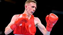 Brendan Irvine, Ireland, during his Men's Boxing Light Fly 49kg Round of 16 bout with Tinko Banabakov, Bulgaria. 2015 European Games, Crystal Hall, Baku, Azerbaijan. Picture credit: Stephen McCarthy / SPORTSFILE