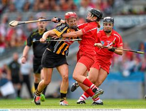 14 September 2014; Aisling Dunphy, Kilkenny, in action against Laura Tracey, Cork. Liberty Insurance All Ireland Senior Camogie Championship Final, Kilkenny v Cork, Croke Park, Dublin. Picture credit: Paul Mohan / SPORTSFILE