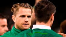Jamie Heaslip's hamstring will be assessed early this week after he pulled up in the warm-up of Ireland's win over England. Photo: Brendan Moran/Sportsfile