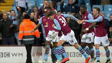 """Football - Aston Villa v West Bromwich Albion - Barclays Premier League - Villa Park - 3/3/15 Christian Benteke celebrates with team mates after scoring the second goal for Aston Villa from the penalty spot Action Images via Reuters / Alex Morton Livepic EDITORIAL USE ONLY. No use with unauthorized audio, video, data, fixture lists, club/league logos or """"live"""" services. Online in-match use limited to 45 images, no video emulation. No use in betting, games or single club/league/player publications.  Please contact your account representative for further details."""