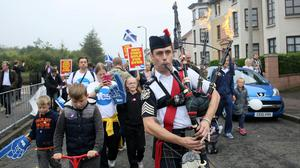 "A man plays the bagpipes on a ""short walk to freedom"" march in Edinburgh, Scotland September 18, 2014."