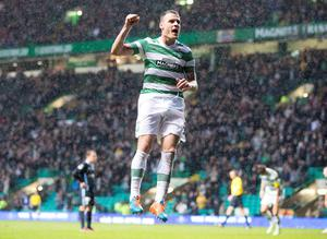 Celtic's Anthony Stokes celebrates his goal during the Scottish Premiership match at Celtic Park, Glasgow. PRESS ASSOCIATION Photo. Picture date: Saturday November 22, 2014. See PA story SOCCER Celtic. Photo credit should read Jeff Holmes/PA Wire. EDITORIAL USE ONLY
