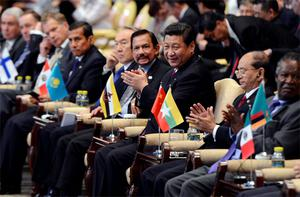 Xi Jinping (centre) and leaders from other countries at the Boao Forum for Asia yesterday