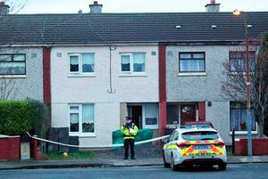Gardai at the scene of the fatal stabbing of a teenager in Kilclare Cresent, Tallaght this evening... Picture Colin Keegan