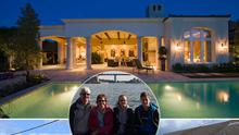 Mary Walsh (inset with her family) swapped her Rathfarnham home in Dublin for a Californian dream with a swimming pool