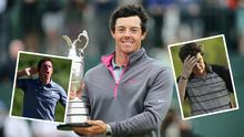 McIlroy with US Open trophy in Hoylake, in action in Ryder Cup (left) and (right) after Augusta disaster in 2011