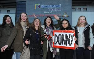 One Direction fans outside the Keepmoat Stadium, Doncaster where Louis Tomlinson was making his debut for the reserves