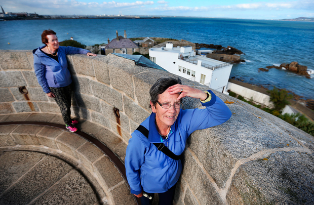 Invasion: Maureen Ahern and Margaret Brett, from Cork, in the tower Photo: Steve Humphreys