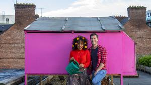 The high life: Brian McCarthy of Central Floral Supplies with his partner Thayane 'Thay' Carlos on Cork's Rooftop Farm. Photo: Clare Keogh