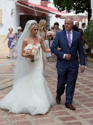**ALL ROUND EXCLUSIVE PICTURES FROM SOLARPIX.COM** **WORLDWIDE SYNDICATION RIGHTS**                                                                                   Pics show the wedding of Irish rugby union player Peter Stringer and Deborah O'Leary. Peter, who plays at scrum-half for Sale and Ireland, married his sweetheart today at 1pm at Nuestra Senora de la Encarnacion at the Plaza de la Iglesia, in the old town of Marbella. This pic:  Peter Stringer and Deborah O'Leary & father going into the church JOB REF: 09.06.15  AB1  DATE: 09.06.15 **MUST CREDIT SOLARPIX.COM OR DOUBLE FEE WILL BE CHARGED** **MUST AGREE FEE BEFORE ONLINE USAGE** **CALL US ON: +34 952 811 768 or LOW RATE FROM UK 0844 617 7637**