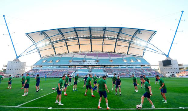 Ireland players train during an Ireland training session at Estádio Algarve in Faro, Portugal ahead of tomorrow evening's clash. Photo by Stephen McCarthy/Sportsfile