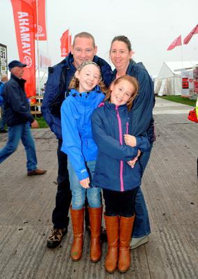 23 Sept 2014; The Condren family; Eddie and Michelle with children Orlaith, 11, and Eabha, 9, from Abbeyleix.  National Ploughing Championships 2014. Ratheniska, Stradbally, Co. Laois. Picture: Caroline Quinn