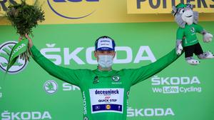 Sam Bennett celebrates another day in the Green Jersey at the Tour de France