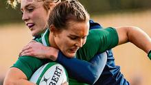 Ireland's Aoife Doyle is tackled by Megan Gaffney of Scotland during their Women's Six Nations clash at Energia Park. Photo: Ramsey Cardy/Sportsfile
