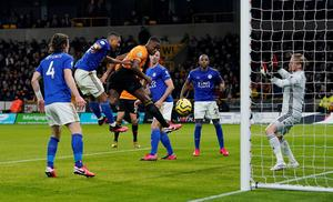Wolverhampton Wanderers' Willy Boly scores their first goal, which is disallowed by VAR for offside. REUTERS/Andrew Yates