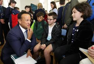 Blueprint: Taoiseach Leo Varadkar speaks to pupils from Dublin 7 Educate Together Primary School at the Climate Action Plan launch. Photo: Damien Eagers/INM
