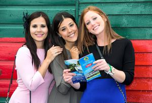 Mikeia Frances from Spain, Caroline Sanz from Spain and Deborah Mireles from Mexico enjoying day two of the Galway racing festival. Pic:Mark Condren