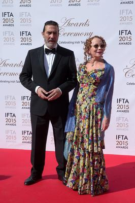 24/5/15 Ciaran Hinds and good friend Kate Beaufoy pictured on the red carpet at the IFTA Awards at the Mansion House in Dublin. Picture: Arthur Carron