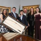 Pictured was Lord Mayor of Dublin, Paul McAuliffe with his wife Ciara presenting the Honorary Freedom of the City of Dublin to former Dublin football manager Jim Gavin with his wife Jennifer and children Jude (age 11) and Yasmin (age 13). Picture: Conor McCabe Photography.