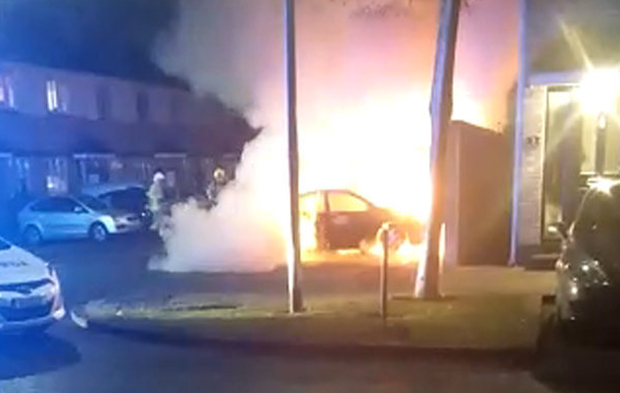 The blazing car in which Wayne Whelan was found dead in Lucan last month