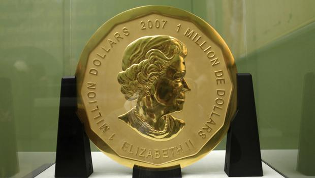 This file photo shows the gold coin 'Big Maple Leaf' in the Bode Museum in Berlin