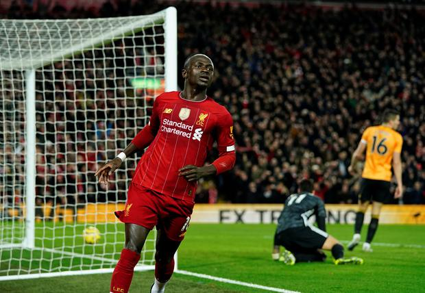 RED TIDE: Sadio Mane celebrates the winner against Wolves. Photo: REUTERS