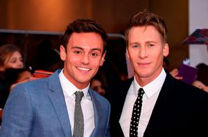 Tom Daley and Dustin Lance Black .  (Photo by Gareth Cattermole/Getty Images)