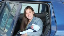 25-9-20 Dennika Ward with baby Michael  Daithi she gave birth to in her car at Elm Court Service Station in Ballyneety last Monday morning.   Picture: Keith Wiseman
