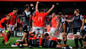 Arno Botha of Munster goes over to score his side's fourth try during the Guinness PRO14 Round 4 match between Munster and Ospreys at Irish Independent Park in Cork. Photo by David Fitzgerald/Sportsfile