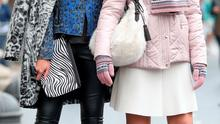 Karen Fitzpatrick (left) wears a Grey leopard boiled wool cocoon coat by Kaliko (€229), blue leopard boiled wool bicker style jacket by CC (€215), black camisole by Benetton (€20) and eco leather trousers by Vero Moda (€40)  and Thalia Heffernan wears a pink puffa jacket by Planet (€199) pink embellished knit by Austin Reed (€110) cream scuba skirt by Benetton (€64) Fair Isle scarf (€29) and  gloves (€16) from Clerys