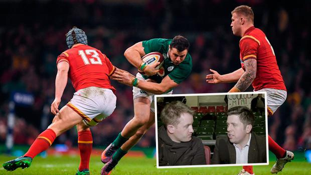 Robbie Henshaw in action against Wales and (inset) Luke Fitzgerald talks to Ruaidhri O'Connor after the match
