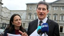 Green Party leader Eamon Ryan with deputy leader Catherine Martin  Photo: Tom Burke