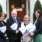 (L-R) Ann FitzGerald, BL, Chair of Home for Good, Fergus Finlay, former CEO, Barnardos, Senator Colette Kelleher and Rebecca Keatinge Managing Solicitor, Mercy Law Centre at the Launch of 'Home for Good: The Housing Crisis and a Proposal to Amend the Irish Constitution' Photo: RollingNews.ie