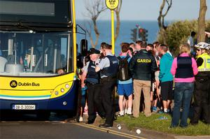 Gardai investigate a riot between two groups of youths at Portmarnock beach