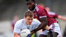Kildare's Jimmy Hyland is tackled by Boidu Sayeh of Westmeath during the Allianz Football League Division 2 match at St Conleth's Park in Newbridge, Kildare. Photo: Piaras Ó Mídheach/Sportsfile