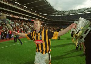 Kilkenny's Henry Shefflin lifts the Liam MacCarthy cup after the All-Ireland victory over Clare in 2002