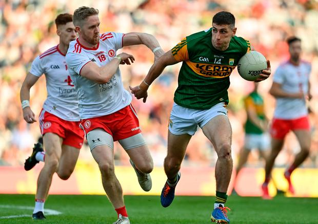 Kerry's Paul Geaney takes on Frank Burns of Tyrone during the All-Ireland Senior Football Championship semi-final at Croke Park in Dublin. Photo by Brendan Moran/Sportsfile