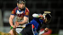 28 February 2015; Stephen Roche, WIT, in action against Tony Kelly, UL. Independent.ie Fitzgibbon Cup Final, University of Limerick v Waterford Institute of Technology. Gaelic Grounds, Limerick. Picture credit: Diarmuid Greene / SPORTSFILE