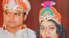 BEFORE THE TRAGEDY: Praveen and Savita during their wedding in the southern Indian state of Karnataka