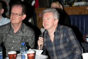 Aonghus McAnally & Louis Walsh during a boy band audition by Louis Walsh at The Button Factory