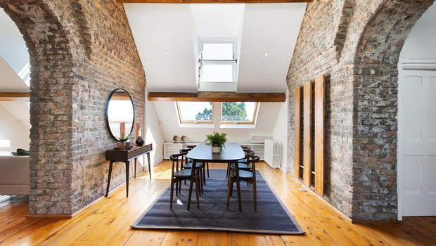 Arches and open spaces at Convent Hall's loft penthouse