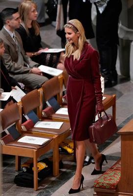 Ivanka Trump, the daughter of US President Donald Trump, arrives for the National Prayer Service at the National Cathedral on January 21, 2017 in Washington, DC.