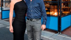 Kathryn Thomas with Padraig McLoughlin outside Padraig's new seafood restaurant, Catch 22