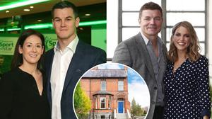Laura and Johnny Sexton, left, Brian O'Driscoll and Amy Huberman right, and the couple's house in Rathmines, inset